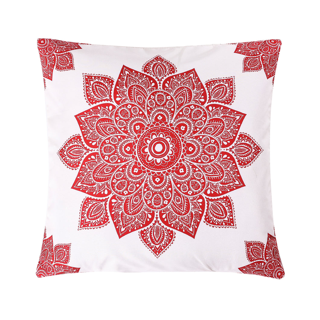 Mandala Red Printed Cushion