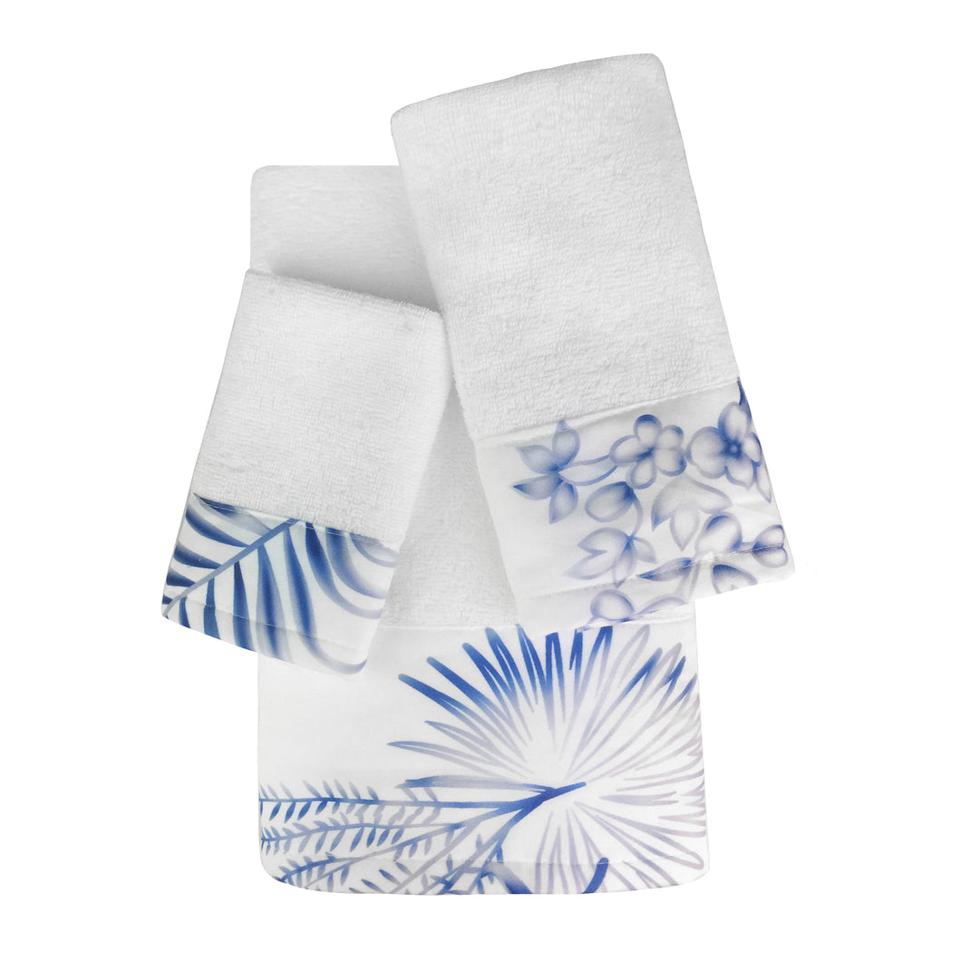 Castaway 3pc Cotton Towel Set with Printed Border