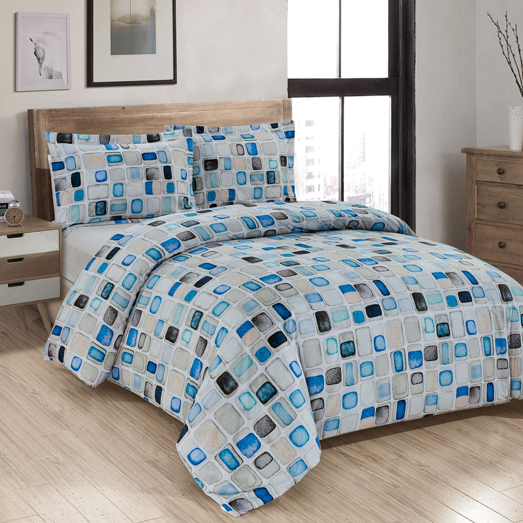 Basketweave Printed Duvet Cover Set