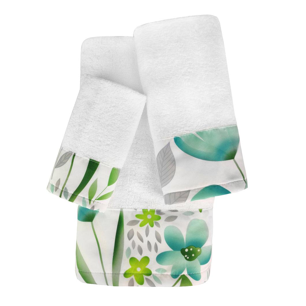 Evelyn 3pc Cotton Towel Set with Printed Border