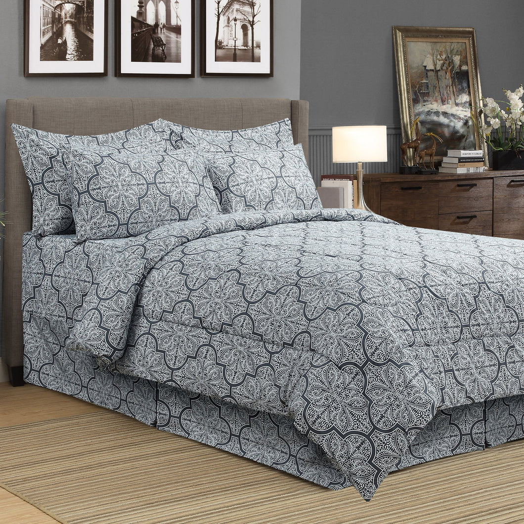 Dynasty Grey 8pc Bed In A Bag Comforter Set