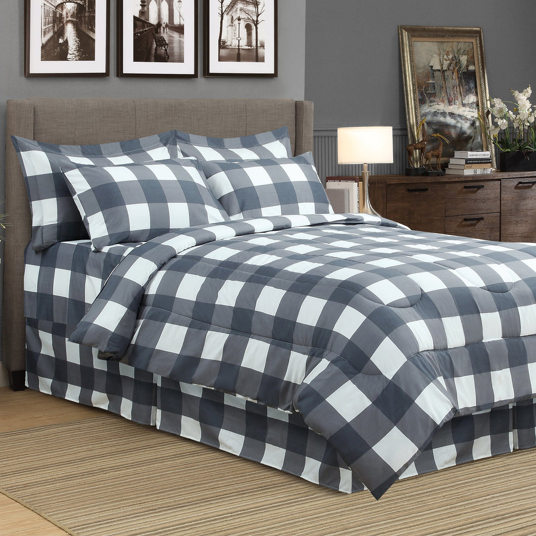 Oxford Grey 8pc Bed In A Bag Comforter Set