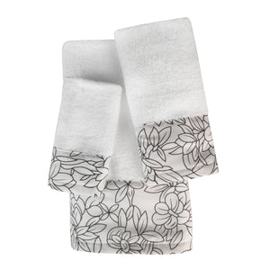 Laurel 3pc Cotton Towel Set with Printed Border