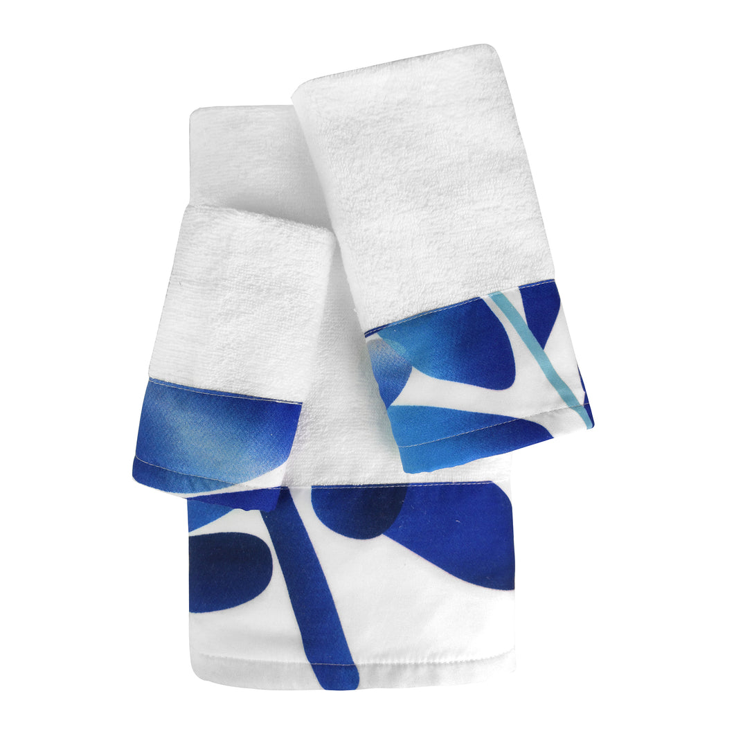 Luna 3pc Cotton Towel Set with Printed Border