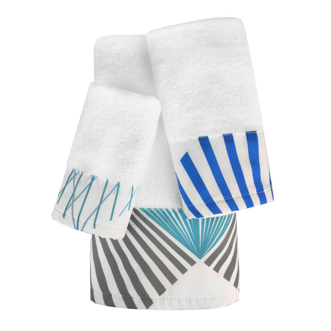Midori 3pc Cotton Towel Set with Printed Border