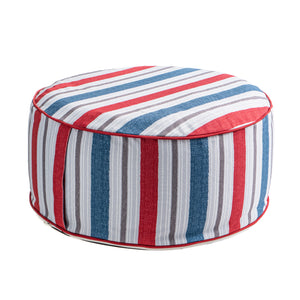 Outdoor Inflatable Ottoman Navy Red Stripe