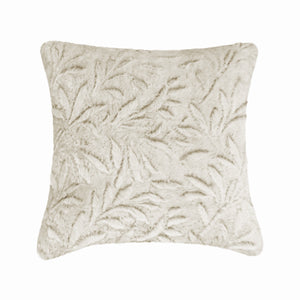 Fun Fur Leaves Beige Cushion