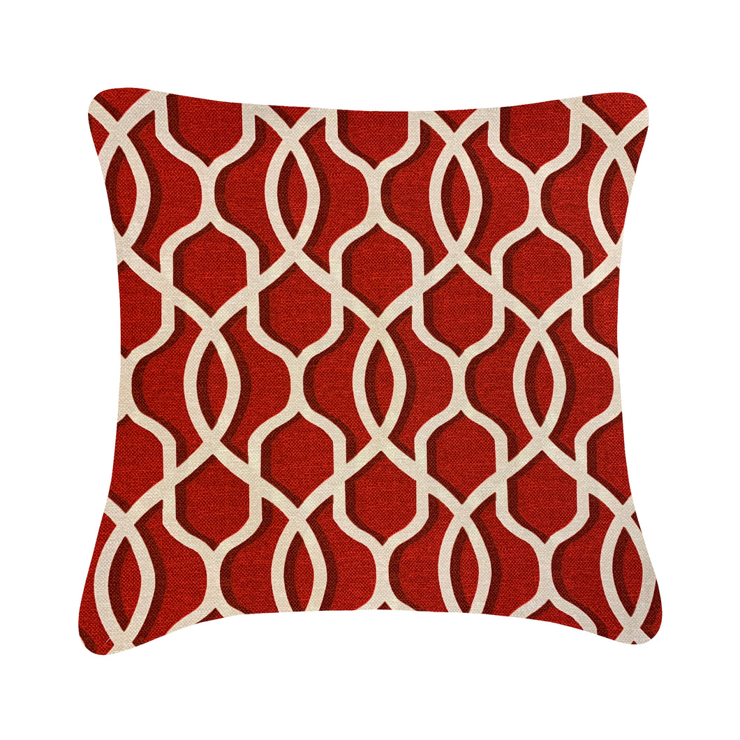Outdoor Red Textured Trellis Cushion