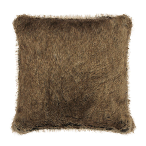 Tip Brown Faux Fur Cushion