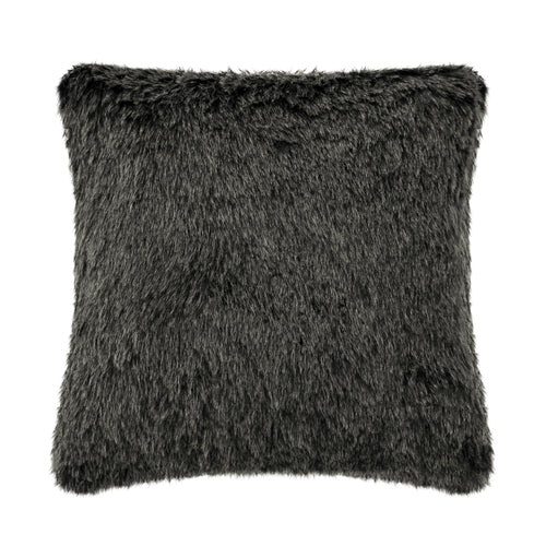 Tip Black Faux Fur Cushion