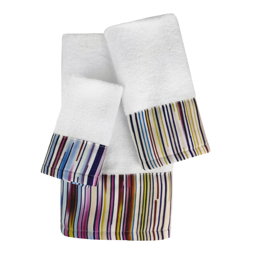 Rayas 3pc Cotton Towel Set with Printed Border