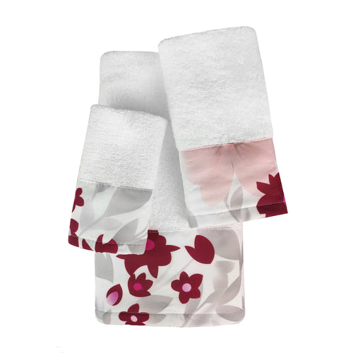 Rosalee 3pc Cotton Towel Set with Printed Border