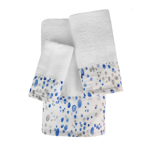 Seaglass 3pc Cotton Towel Set with Printed Border
