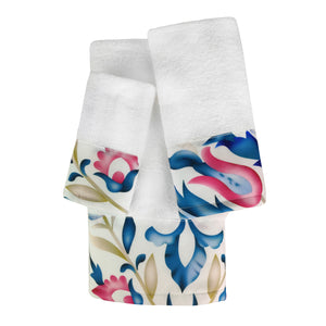 Tabitha 3pc Cotton Towel Set with Printed Border