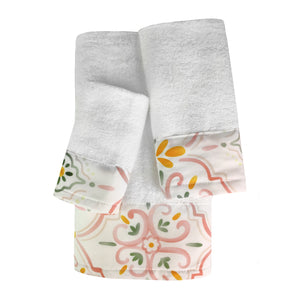 Tamara 3pc Cotton Towel Set with Printed Border