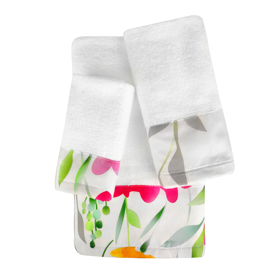 Whimsicle 3pc Cotton Towel Set with Printed Border
