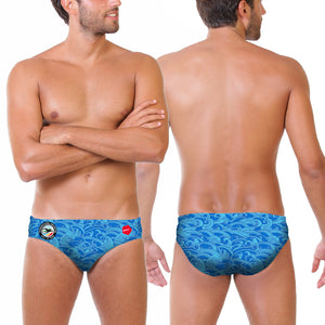 ISHOF Logo Men's Brief in Waves Print - By Zumo