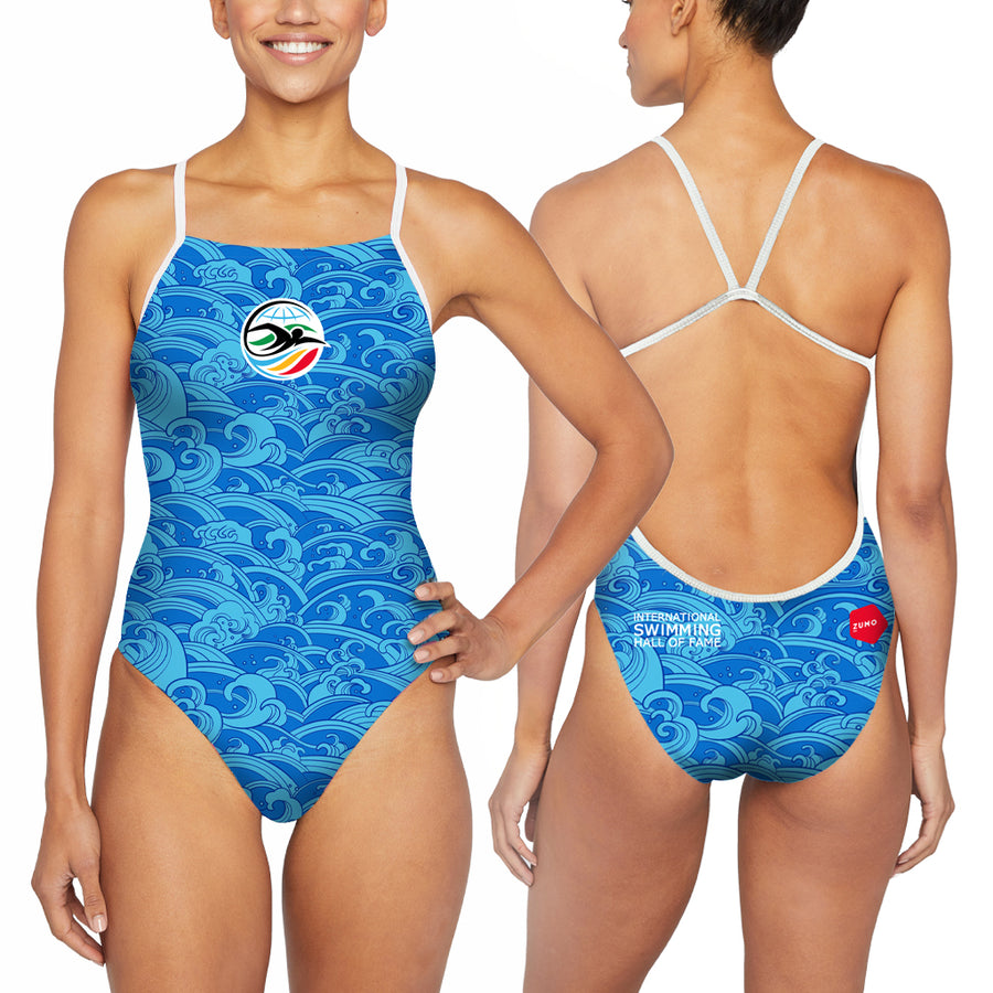 ISHOF Logo Women's One Piece Suit in Waves Print - By Zumo