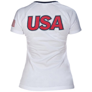 arena Official USA Swimming National Team Women's V-Neck Tee Shirt ISHOF Swimming Hall of Fame Swimming World