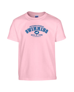 Swimming Hall of Fame Youth Tee Shirt Pink ISHOF Swimming Hall of Fame Swimming World