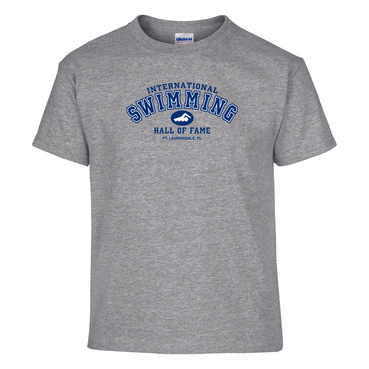 Swimming Hall of Fame Youth Tee Shirt Gray   ISHOF Swimming Hall of Fame Swimming World