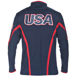 arena Official USA Swimming National Team Men's Long Sleeve 1/2 Zip Tech ISHOF Swimming Hall of Fame Swimming World