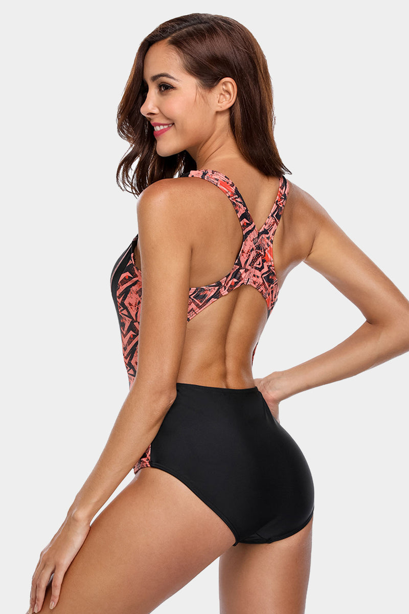 Attraco Athletic Black Racerback Slimming One Piece Swimsuit