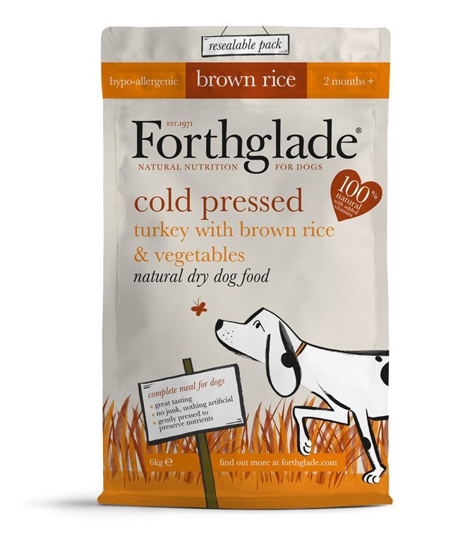 Forthglade | Cold Pressed Turkey & Brown Rice - 100% Natural & Healthy Dry Dog Food
