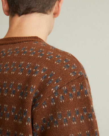 mixed wool patterned sweater