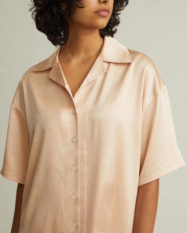 short sleeve satin blouse