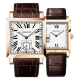 Agelocer Couple Watches for Men Women Square Quartz Watches Genuine Leather Band Waterproof Watches 3301-3401