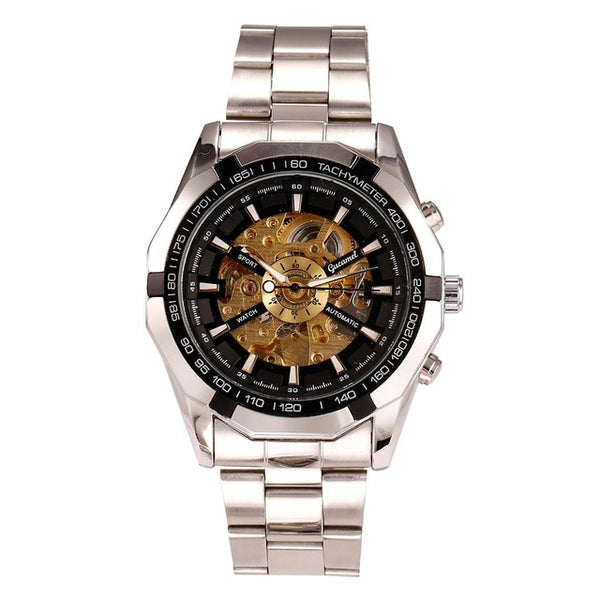 Mechanical Wrist Out Business Analog Men Top Watch Casual Alloy Hollow Watch