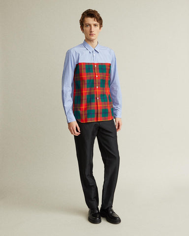 Cotton Chambray And Tartan Shirt