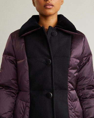 Mid Length Wool Panel Puffer Coat