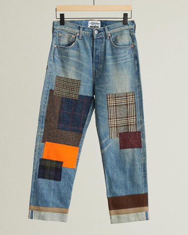 patchworked selvedge denim jeans