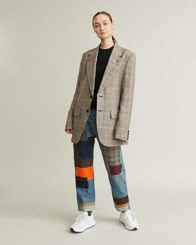 wool blend tweed check blazer