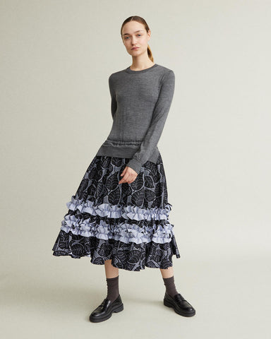 Sweater Ruffle Skirt Dress