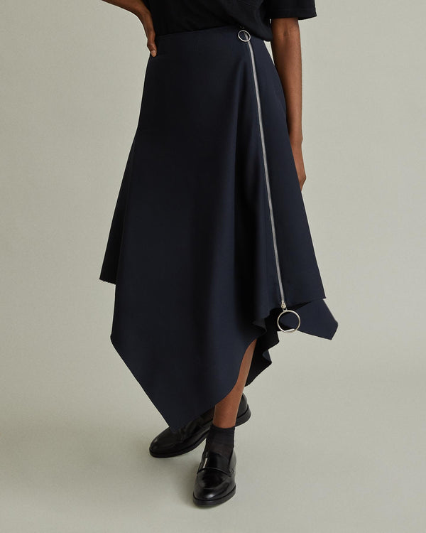 Side Zip Asymmetric Skirt