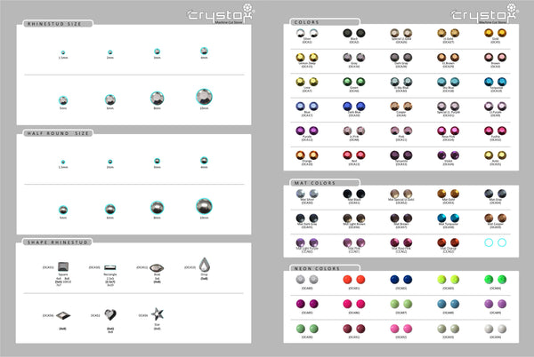 Rhinestud Color Chart