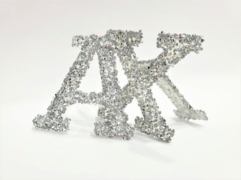 RHINESTONE IRON ON LETTERS / SILVER CLEAR / H:2""