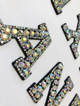 RHINESTONE IRON ON PATCH LETTERS  /CRYSTAL CLEAR AB / H:2""