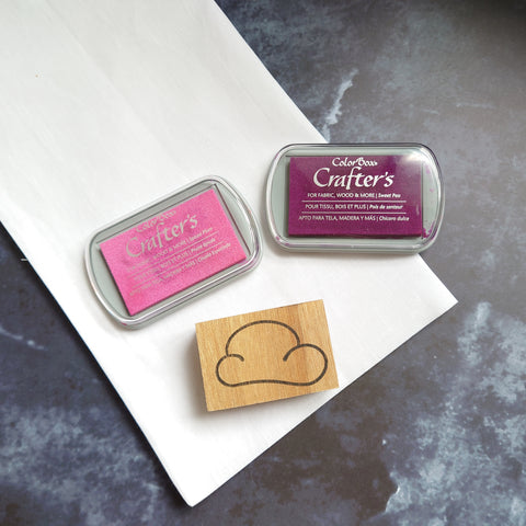 Mint Maker Studio Cloud stamp and two fabric ink pads