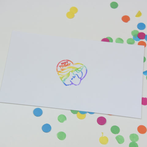 Rainbow stamp impression on paper