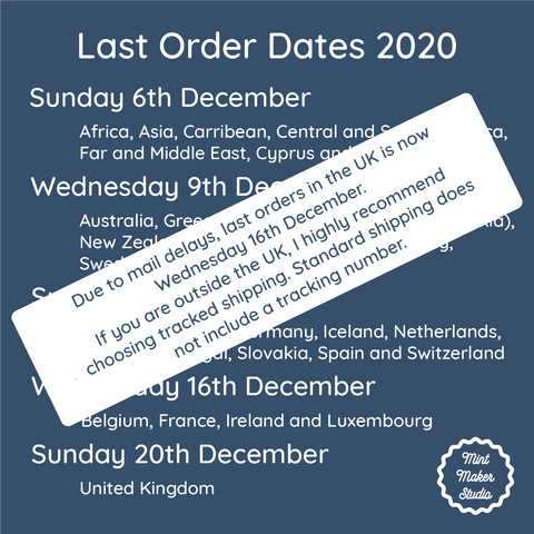 Update to last shipping dates. Text update below