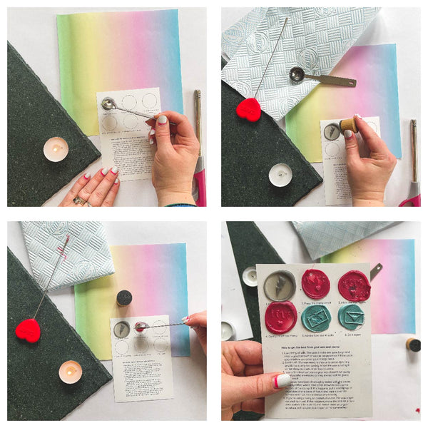 4 step process for practicising making a wax seal stamp from Mint Maker Studio