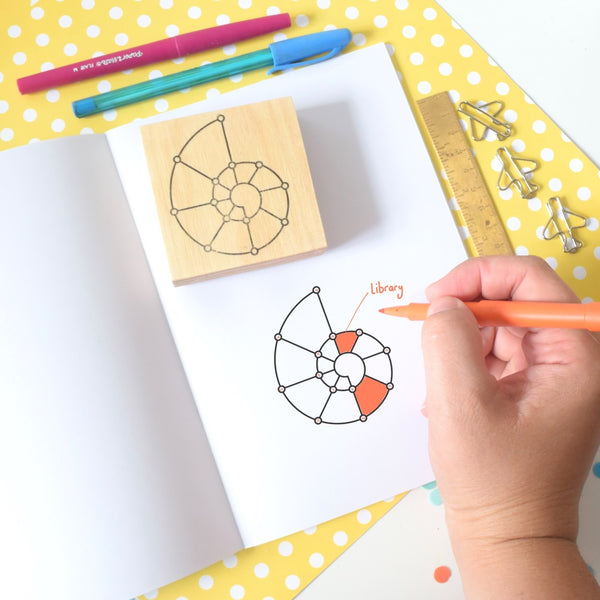 12 segment spirodex stamp with hand holding pen colouring in segments