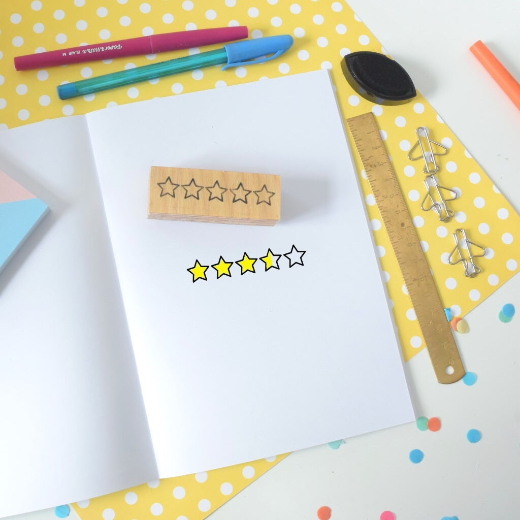 5 star rubber stamp with some stars coloured in