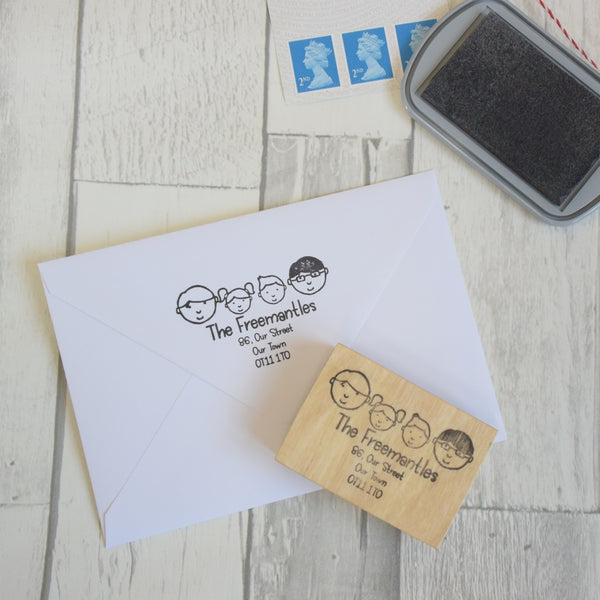 Personalised Family Portrait Address Stamp
