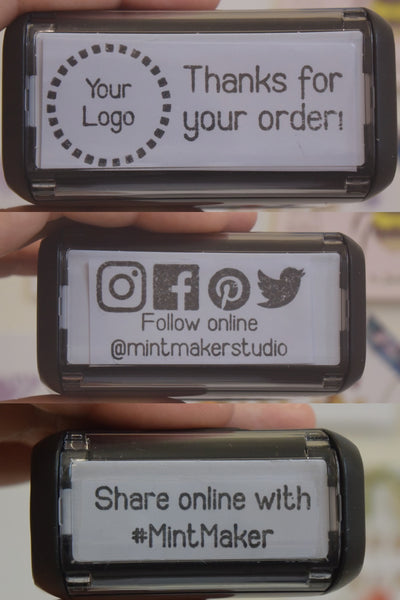 Business Stamp Bundle - Personalised Follow Online, Thank You for Ordering and Hashtag Self Inking Stamp