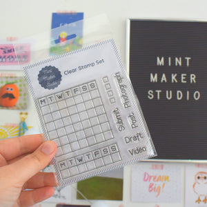 Clear Bullet Journal Stamps - Calendars and Social Media words